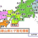 ヒゲ脱毛和歌山県の地図